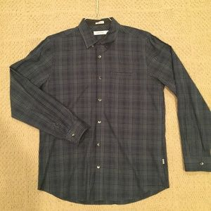 Calvin Klein Dark Blue Checkered Button-Down (M)